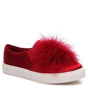 NEW Aldo Red Satin Pom Pom Sneakers
